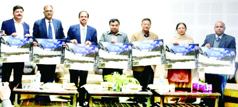 M K Dwivedi, Commissioner/Secretary Forest and other officers during release of a calendar.