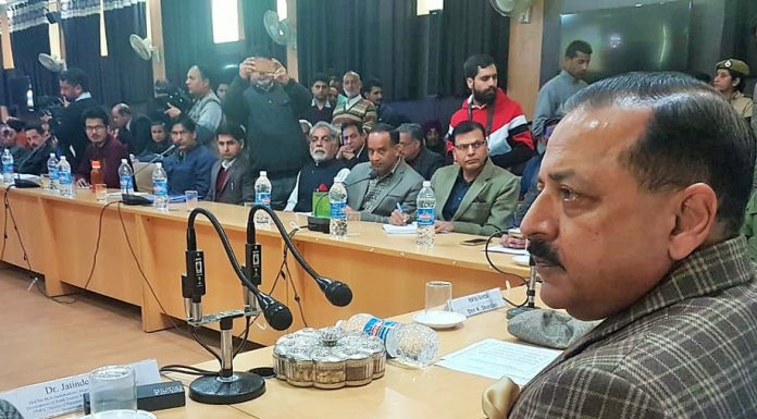 Union Minister, Dr Jitendra Singh interacting with farmers and Sarpanches during a programme on PM - Kissan Samman Nidhi Yojna at Reasi on Monday. —Excelsior/Mengi