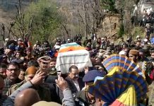 Union Minister, Dr Jitendra Singh, IG CRPF and others giving shoulder to the coffin of CRPF martyr, Naseer Ahmed at Dudasan village in Rajouri on Saturday. -Excelsior/Gafoor Bhat