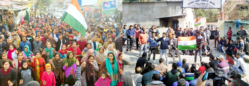 Protest demonstrations being held at Udhampur (L) & Reasi on Saturday.