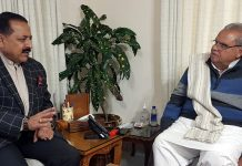 Union Minister Dr Jitendra Singh calling on Governor Satya Pal Malik, at Raj Bhawan Jammu on Saturday.