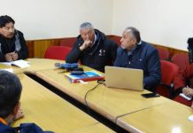 Deputy Chairman LAHDC Leh, Gyal P. Wangyal chairing a meeting at Leh on Saturday.