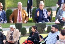 NC President Dr Farooq Abdullah chairing party-meeting on Saturday.