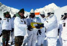 GOC Fire and Fury Corps meeting troops at Siachen Glacier on Saturday.