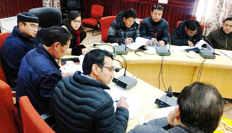 DC Leh Avny Lavasa chairing a meeting on Wednesday.