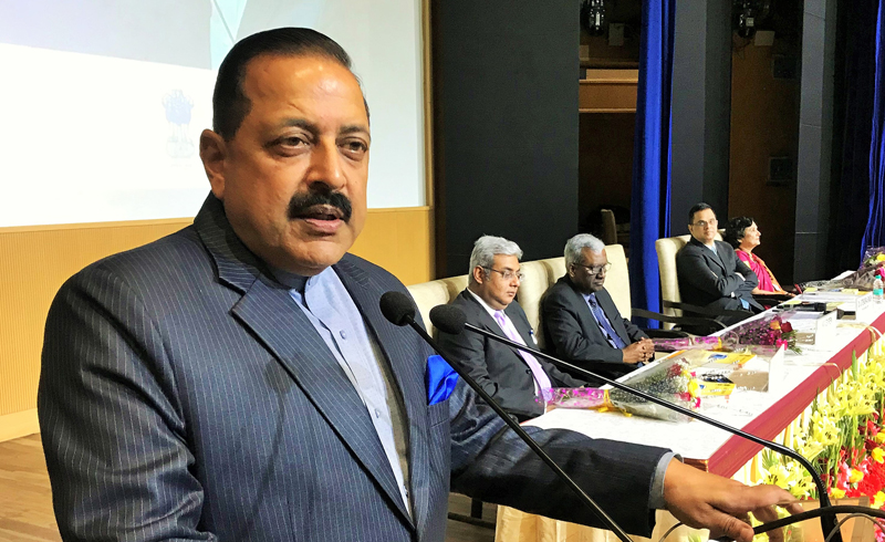 Union Minister Dr Jitendra Singh addressing the gathering after presenting annual National e-Governance Awards in different categories, at New Delhi on Wednesday.