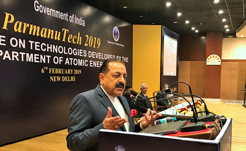 """Union Minister Dr Jitendra Singh delivering the keynote address at """"Parmanu Tech 2019"""" Nuclear Energy Conference, at New Delhi on Wednesday."""
