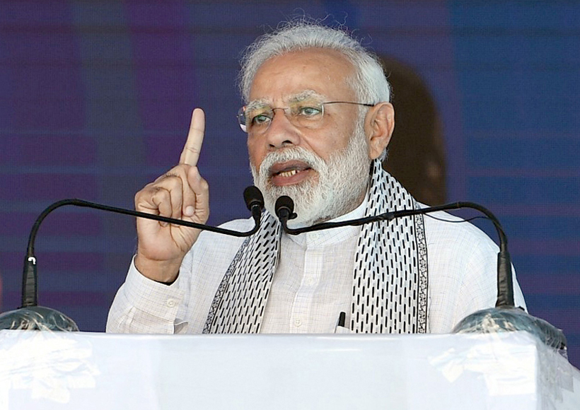 Prime Minister Narendra Modi addressing at the unveiling of various development projects at Yavatmal in Maharashtra on Saturday.