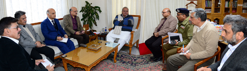 Governor Satya Pal Malik chairing security review meeting in Jammu on Saturday.