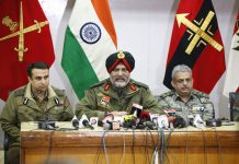 GOC 15 Corps Lt Gen KJS Dhillon addressing a press conference in Srinagar on Tuesday. -Excelsior/Shakeel