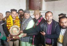 SAK Rajput Sabha honouring Manik Slathia in Jammu.