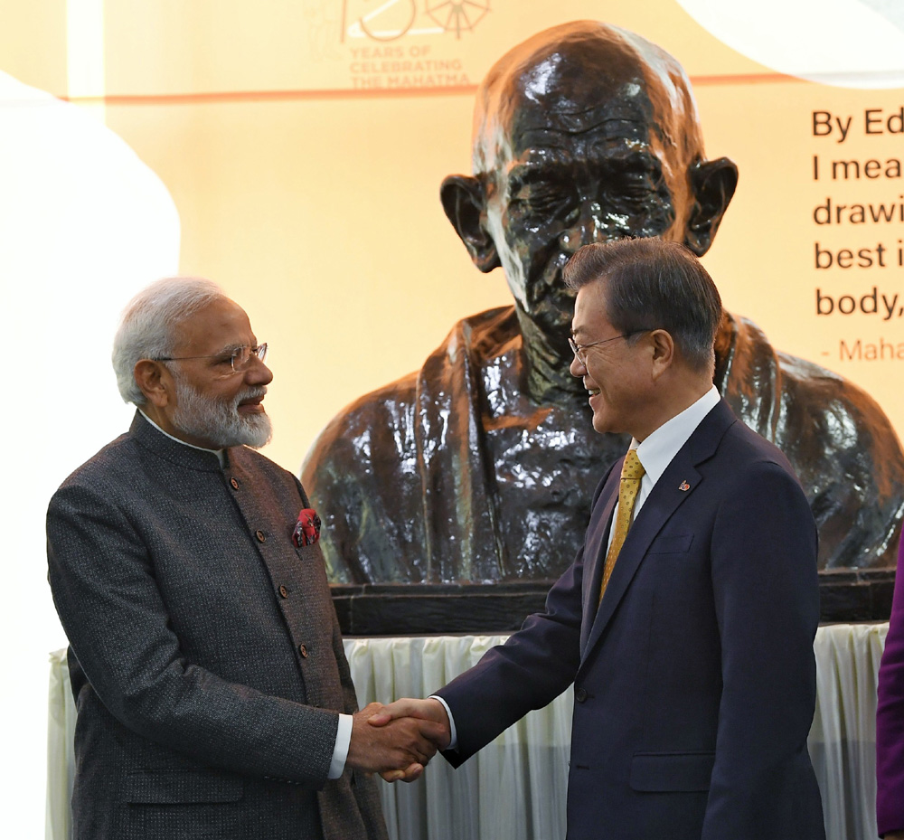 Prime Minister, Narendra Modi and the President of the Republic of South Korea, Moon Jae-in unveils the bust of Mahatma Gandhi at the Yonsei University, in Seoul, South Korea on Thursday.