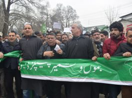 PDP leaders and activists taking out peace march in Srinagar on Sunday. — Excelsior/Shakeel