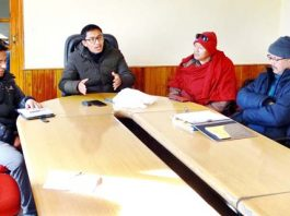 CEC LAHDC Leh chairing a meeting on Sunday.