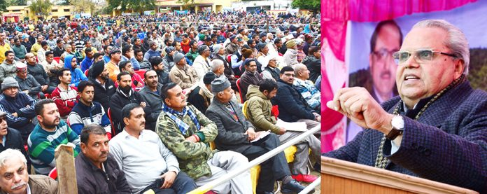 Governor Satya Pal Malik addressing 'Kissan Sammelan' at Jourian near Akhnoor on Thursay.