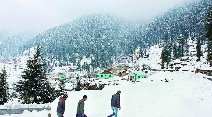People making way towards home through snow at village Nalthi in Bhaderwah. (UNI)