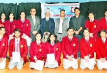 Winners posing along with DG Sports, Dr Saleem-ur-Rehman and other dignitaries during IAYP Awards Presentation Ceremony at KC Public School.