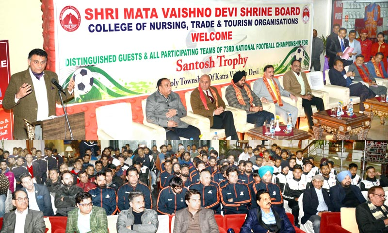 Parvez Dewan, former Advisor to Governor, Parvez Ahmed, Chairman J&K Bank and Simrandeep Singh, CEO Shrine Board at the reception hosted for participating teams of Santosh Trophy Championship at Katra.