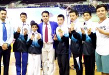 J&K Taekwondo team after winning bronze medal in Nationals at Chennai in Tamil Nadu.
