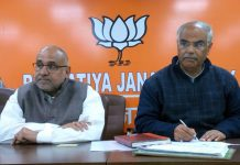 Avinash Rai Khanna, national vice president at a meeting of BJP district prabharis at Jammu on Wednesday.