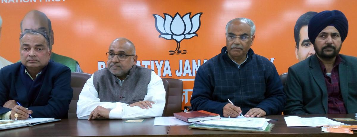 Avinash Rai Khanna, national vice president at a meeting of BJP district prabharis at Jammu on Wednesday.