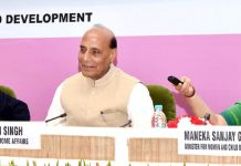 Union Home Minister, Rajnath Singh & Union Minister for Women and Child development, Maneka Gandhi at a function to launch Rs 5 Pan-India emergency number 112 on Tuesday.
