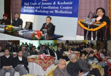 Chief Justice Gita Mittal speaking at Refresher Workshop on Mediation for Lawyers in Jammu on Friday.
