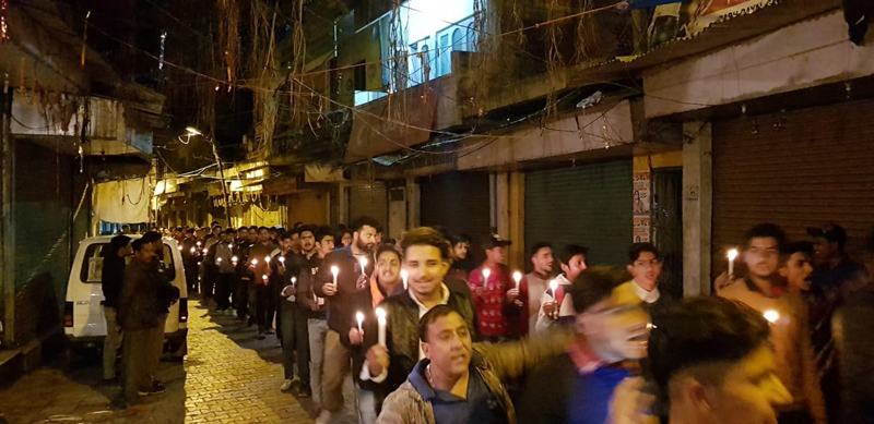 Candle light march being taken out in Reasi on Friday. -Excelsior/Mengi