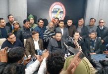 JCCI president, Rakesh Gupta along with others addressing press conference in Jammu on Friday. -Excelsior/Rakesh