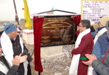 CEC laying foundation stone of Stok Circular Road in Leh.