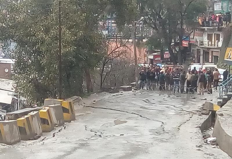 Sinked road near Ramban town.