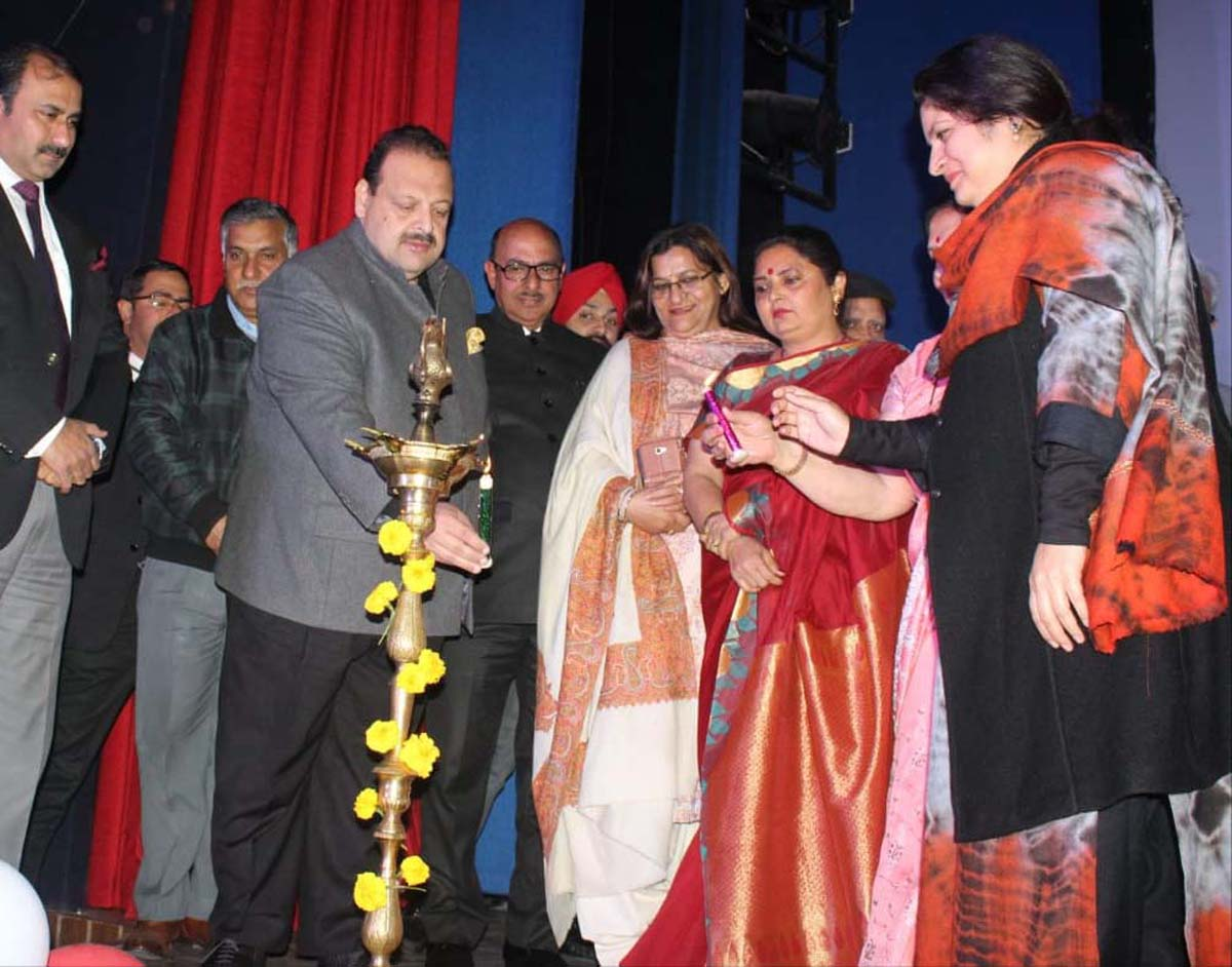 National Conference Provincial President Devender Singh Rana lighting ceremonial lamp at annual day function of Mount Litera Zee School on Saturday.