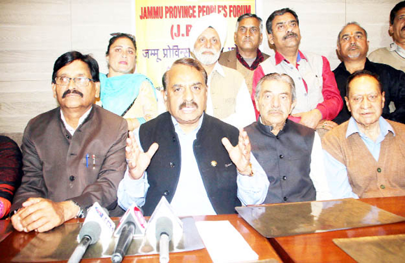 Jammu Province People's Forum members addressing a press conference at Jammu on Tuesday.
