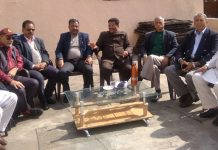 Dogra Sadar Sabha members in a meeting at Jammu on Tuesday.