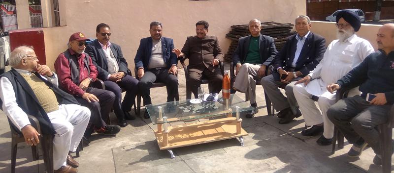 Dogra Sadar Sabha members in a meeting at Jammu on Tuesday.
