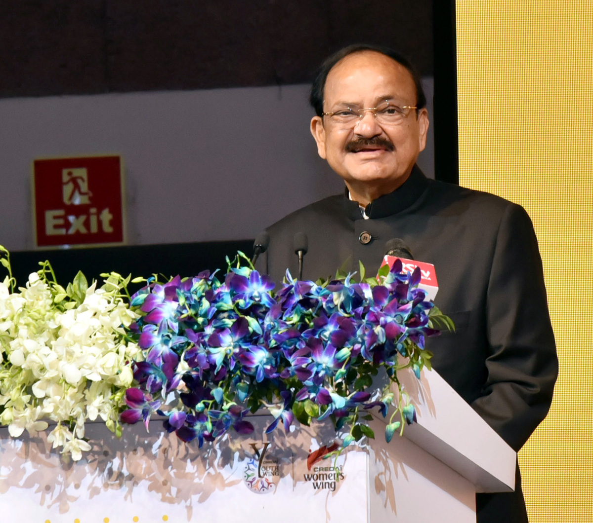 Vice President, M. Venkaiah Naidu addressing the gathering at the 3rd YouthCon'19, organised by CREDAI, in New Delhi on Thursday.