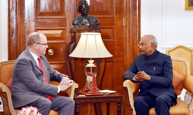 Head of State of the Principality of Monaco, Prince Albert II, meeting the President, Ram Nath Kovind, at Rashtrapati Bhavan, in New Delhi on Tuesday.
