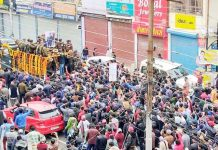 Peoples pay last respects to Major Chitresh Singh Bisht in Dehradun on Monday.