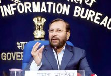 Union Minister for Human Resource Development, Prakash Javadekar addressing a press conference on Operation Digital Board, in New Delhi on Wednesday.