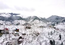 A view of fresh snowfall at Basantgarh in Udhampur on Thursday. -Excelsior/Pawan Gupta