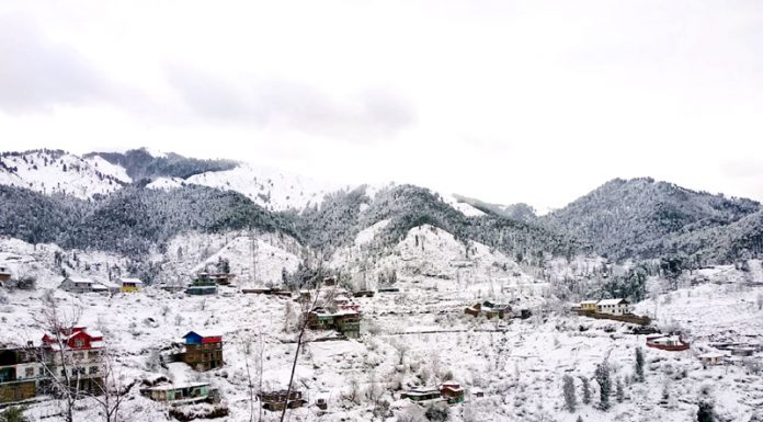 A view of fresh snowfall at Basantgarh in Udhampur on Thursday. -Excelsior/Pawan Gupta