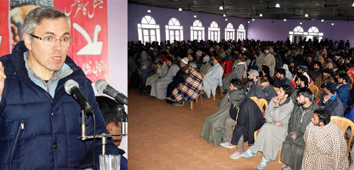 NC vice president Omar Abdullah addressing one day workers convention in Pulwama. -Excelsior/Younis Khaliq