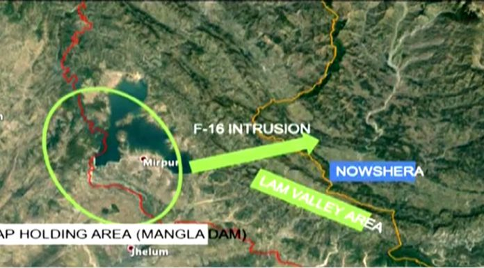 Area where PAF F-16 fell after being hit by the Indian fighter jets on Wednesday.