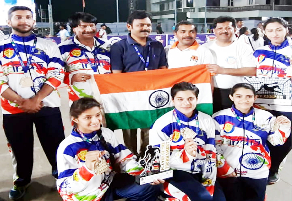 Indian Roll Ball teams posing for a photograph after clinching Asian titles at Belguam in Karnataka.