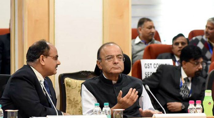 Union Minister for Finance and Corporate Affairs, Arun Jaitley chairing the 33rd GST Council meeting in New Delhi on Sunday.