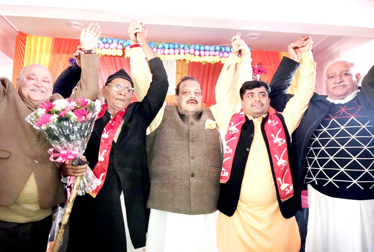 National Conference Provincial President Devender Singh Rana along with other leaders at a function in Nagrota Assembly Constituency on Sunday.
