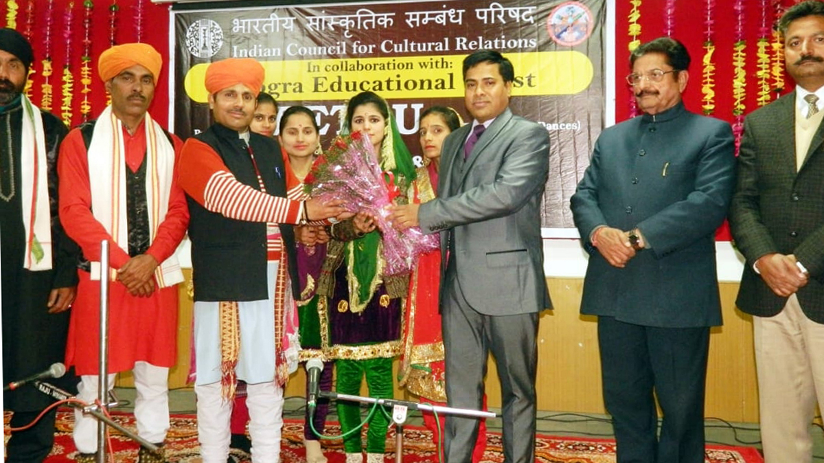 Members of Om Prakash Musical Group being honoured at a cultural programme organized at Dogra Law College in Samba district.