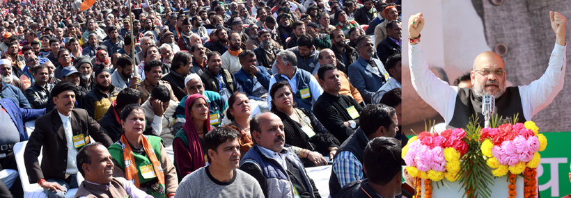 BJP national president, Amit Shah addressing a public rally at Jammu on Sunday. -Excelsior/Rakesh
