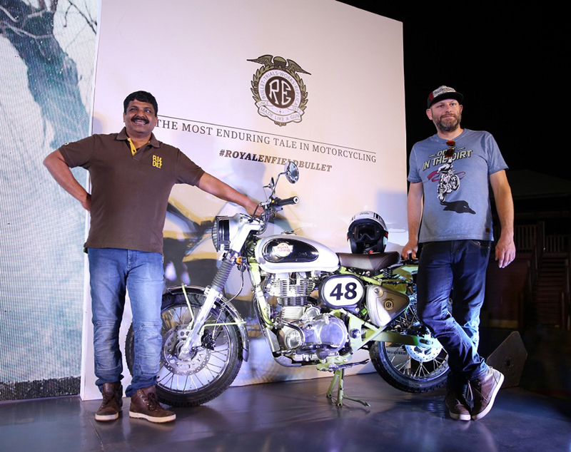 Officials of Royal Enfield during launch of Bullet Trials Works Replica 350 and Bullet Trials Works Replica 500.