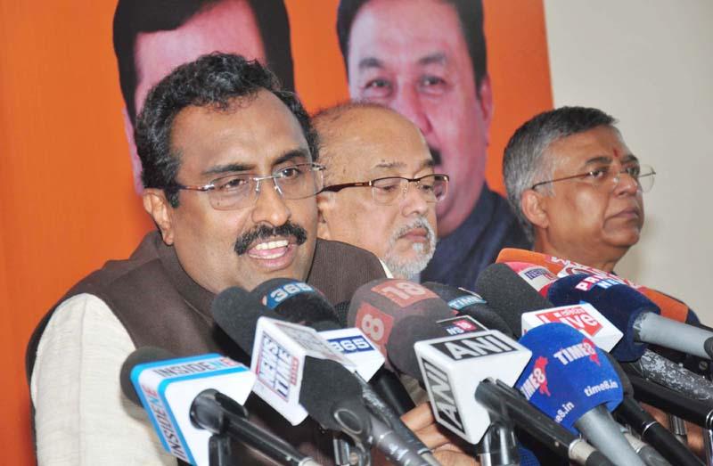 BJP General Secretary Ram Madhav addressing a press conference in Guwahati on Sunday. (UNI)